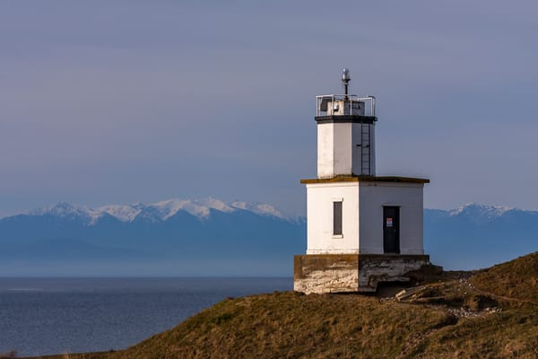 Fine Art Print of Cattle Point Lighthouse at sunrise, overlooking the Straits of Juan de Fuca.