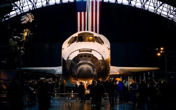 Fine Art print of the NASA Space Shuttle Discovery at the Smithsonian Udvar-Hazy Air Space Museum.