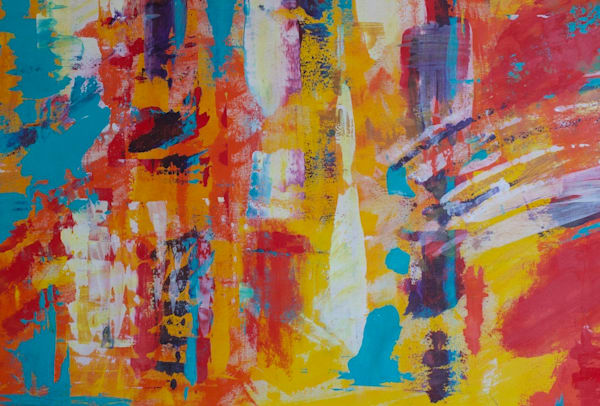 Get this original, warm, vibrantly painted, large abstract by Lesley Koenig.