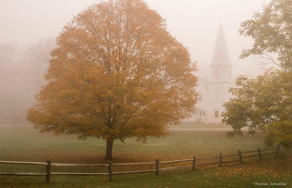 Classic New England Congregational Church emerging through fog/Sherman Connecticut/fine art photography prints