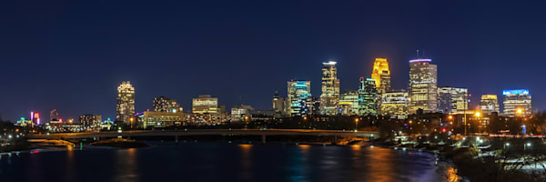 Minneapolis at Night - Minneapolis Skyline Art | William Drew