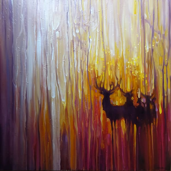 large semi abstract oil painting in golden yellow and purple showing stags and deer in the light of a sunset.
