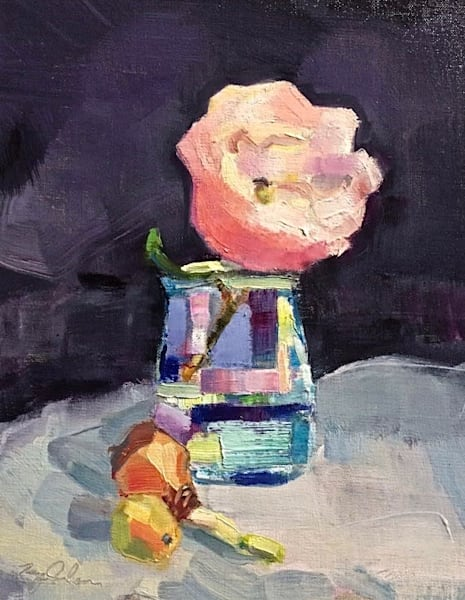 """Together -Peony and Irish Daffodil Bulb"" still life oil painting on linen panel by Monique Sarkessian is 14""x11"", framed with a white wood floater frame.."