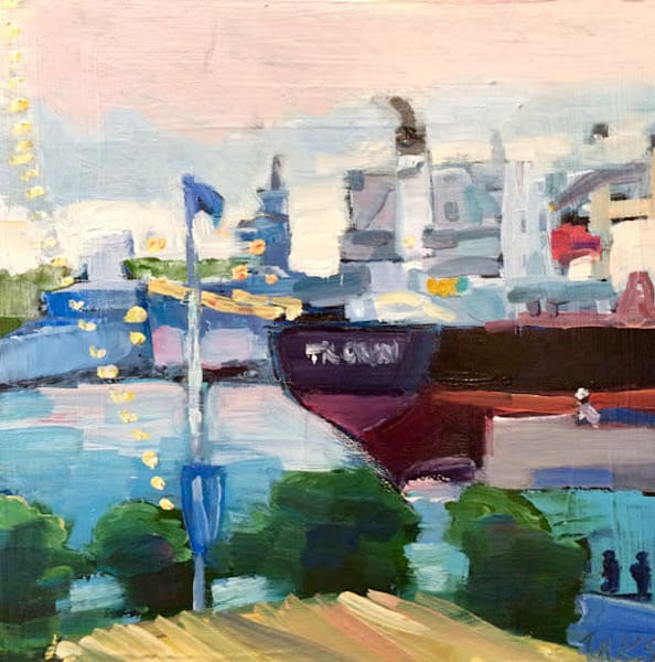 """Joyride 24 Festival Pier "" painting of boats at the festival Pier Penn's Landing in Philadelphia,Pennsylvania.by Monique Sarkessian, Oil painting on wood  6""x6"", framed with a white frame ."