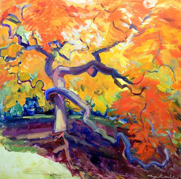 """""""Where Your Glory Dwells 58"""" by Monique Sarkessian.plein air oil painting of the amazing statuesque Japanese cut leaf Maple tree with twisting trunk and boughs. Painted en plein air at Winterthur estate in Delaware. Incredible color, lush surface. O"""