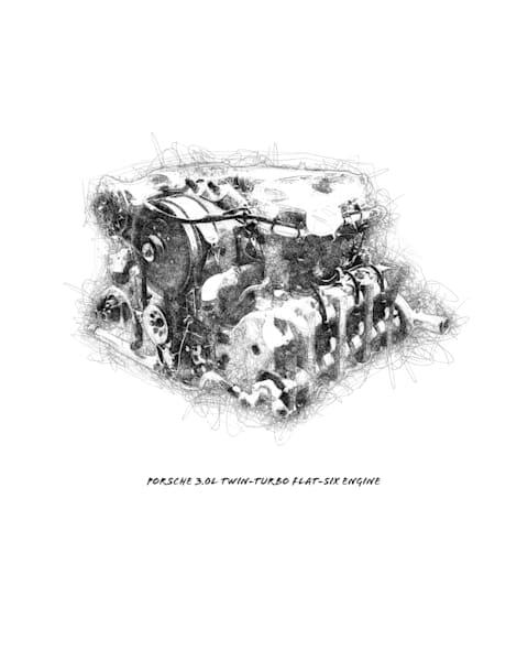 Porsche Engine drawing art print by Christina Stefani