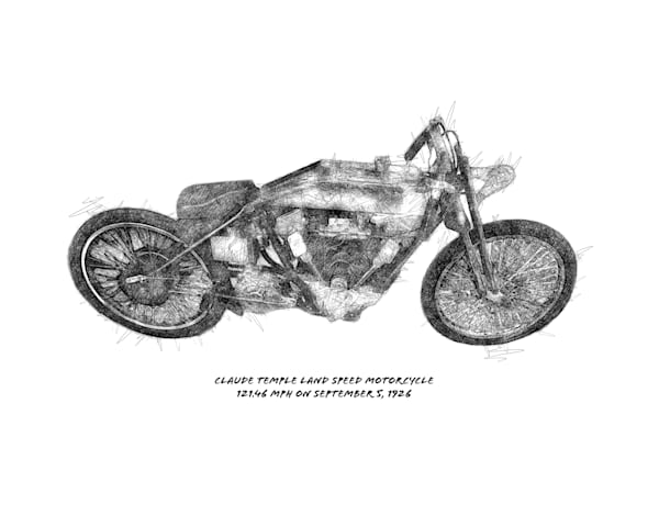 Claude Temple land speed motorcycle drawing art print by Christina Stefani