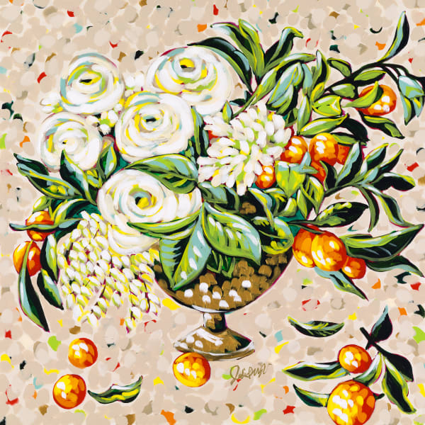 Jodi Augustine print of orange blossoms and white roses in a gold vase.