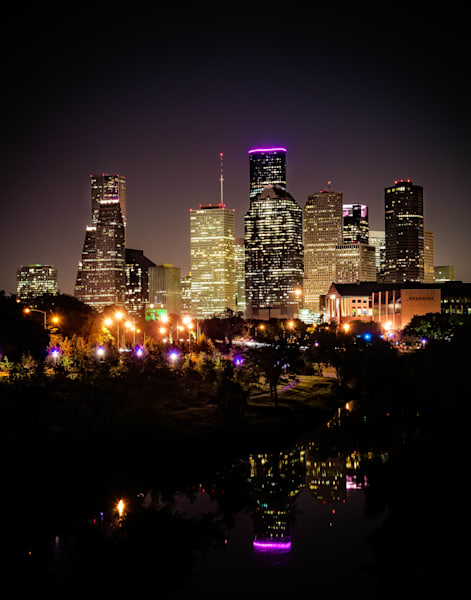 Houston skyline Buffalo Bayou photography