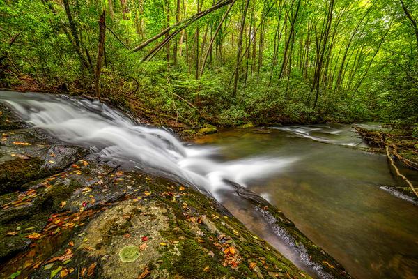 Rock water slide waterfall photography