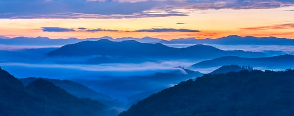 Smoky Mountains sunrise panoramic photography