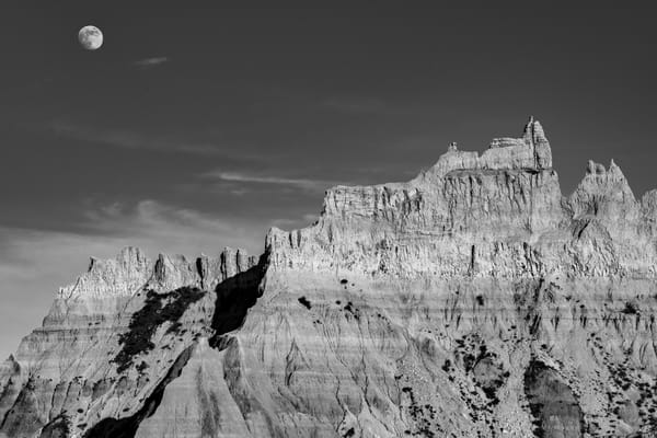 Badlands moon rising photography print