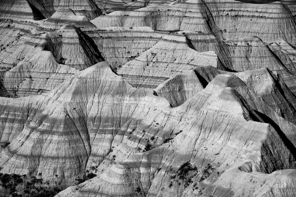 Badlands black and white photography