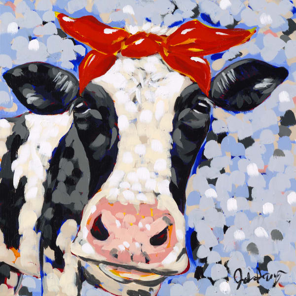 Jodi Augustine Art print of an adorable cow.