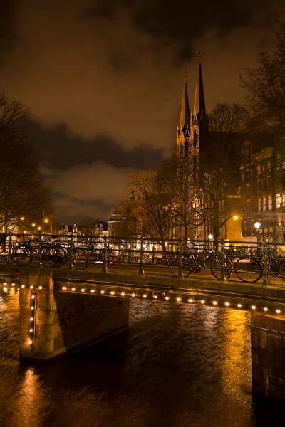 Amsterdam Church at Night