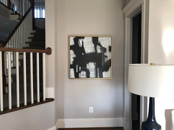 Black & White Abstract In A Hand Painted Frame Art | Studio Artistica