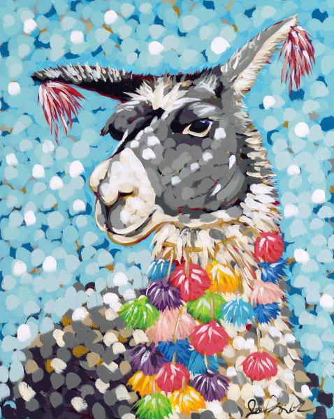 Jodi Augustine original acrylic painting of a decorated llama.