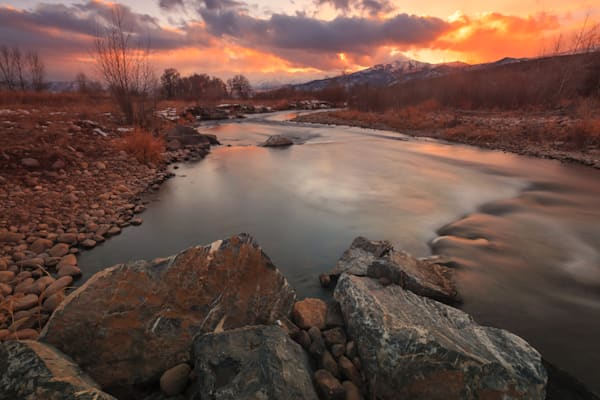 Winter Sunset at the Provo River Heber Valley