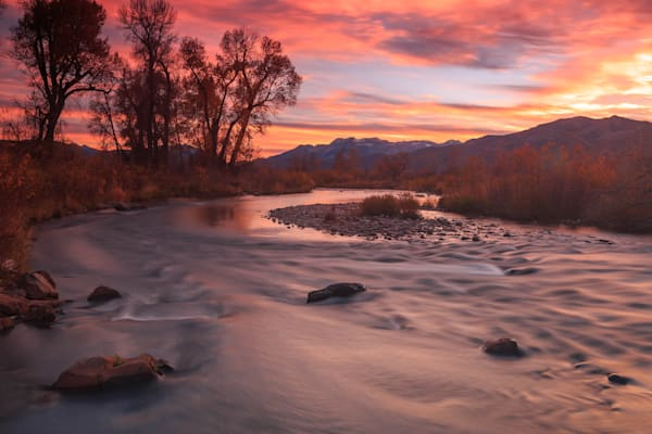 orange dusk sky at the provo river