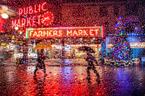 raindrops at Pike Place Market