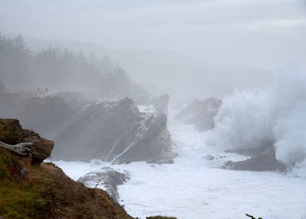 A large winter storm on the Oregon central coast.