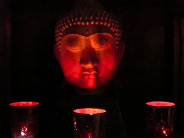Red Buddha By Candlelight Photography Art | BenjieArts