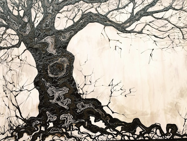 Original Drip Paintings of Stormy & Graceful Trees