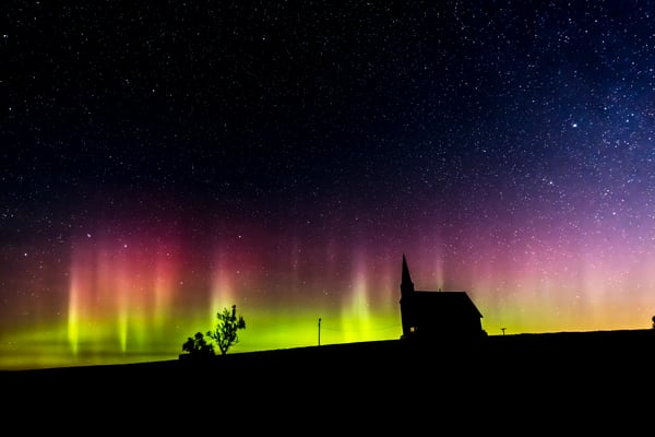 Northern Lights and Old Church