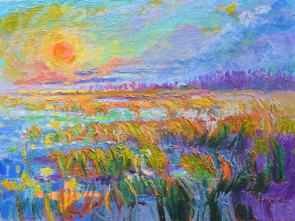 Stunning Sunset Beach Original Oil Painting, Sundown by Dorothy Fagan