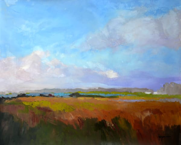 Colorful Coastal Clouds Original Oil Painting, Coming home by Dorothy Fagan