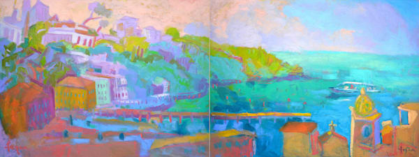 Stunning Panoramic Sorrento Italy Oil Painting, Passage by Dorothy Fagan