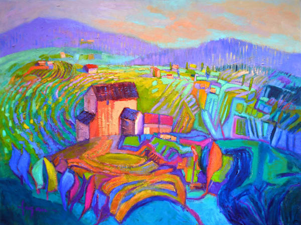 Colorful Tuscan Vineyards Landscape Original Oil Painting by Dorothy Fagan