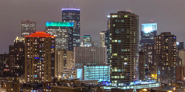 Christmas Minneapolis Skyline 2 - City Art | William Drew
