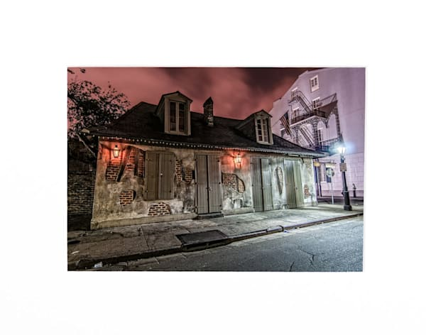 Laffite's Blacksmith Shop at night print photography