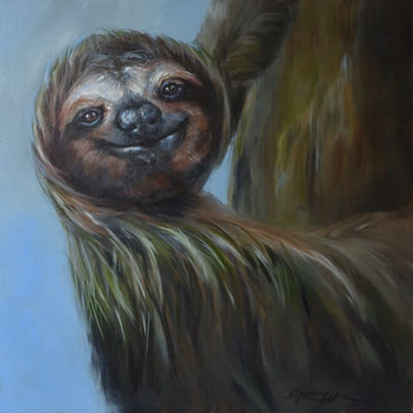 "Sloth Original Painting ""Happy Hour"""