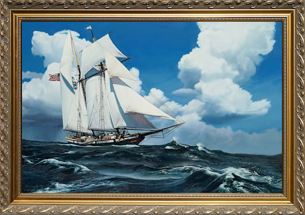 Schooner Racing the Storm Painting