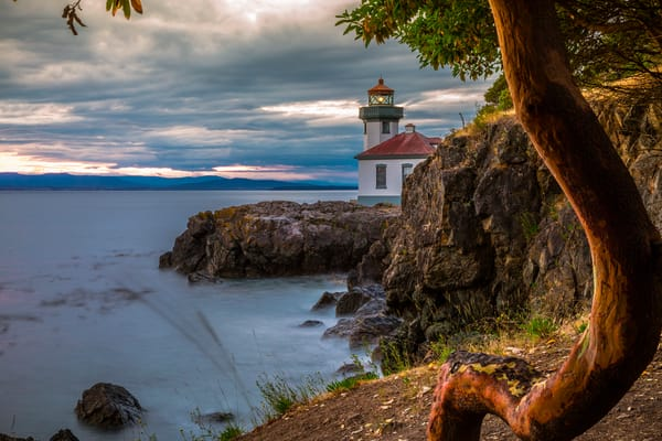 Fine Art Print featuring Lime Kiln Light at sunset on San Juan Island, Washington