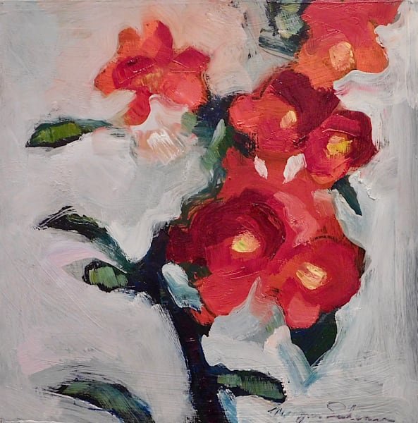 """Beautiful """"Still Life With Flowering Red Quince 11"""" oil painting by Monique Sarkessian made with oil and mixed media paints on wood, 12x12""""."""