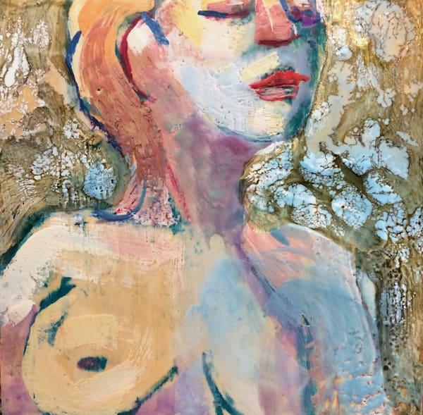"Beautiful ""Always Blue 10""m by Monique Sarkessian. Encaustic wax painting on wood cradleboard measures 8"" x 8"""