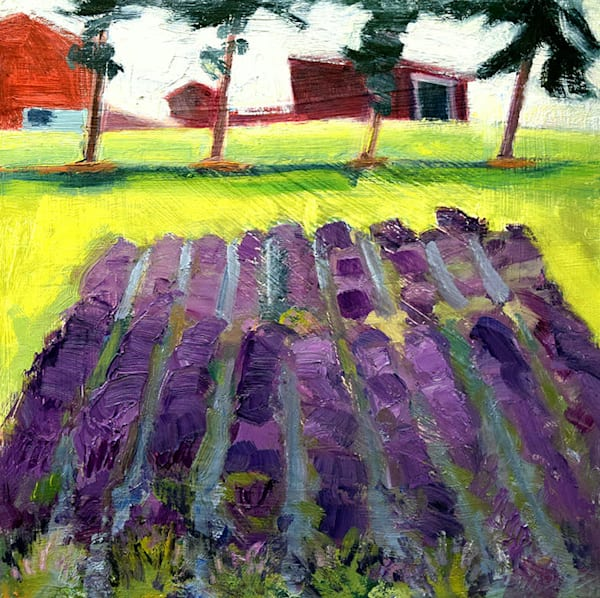 """""""Lavender Farm Peace Valley 2"""". Beautiful Francophile art by Monique Sarkessian. Oil painting on wood cradleboard measures 12"""" x 12"""",  painting extends around the sides. A reminder of France and my travels in Provence."""