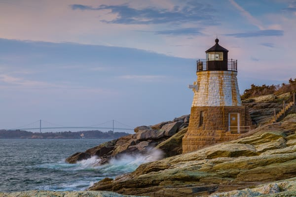 Fine Art Print of Castle Hill Light on Narragansett Bay near Newport, Rhode Island.