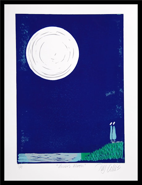 in love, gazing at the moon, this couple is very romantic, linocut reduction, art, painting