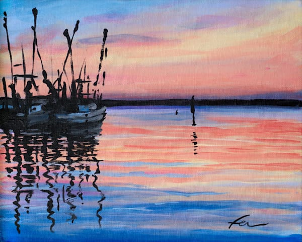 Shrimp Boats at Sunset | acrylic on canvas board