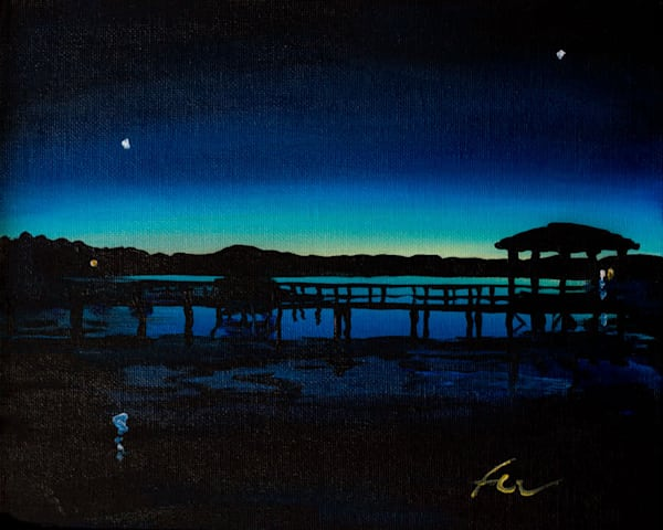 Crab Dock Sunset 2 | acrylic on canvas board