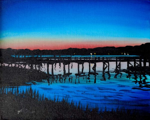 Crab Dock Sunset 3 | acrylic on canvas board