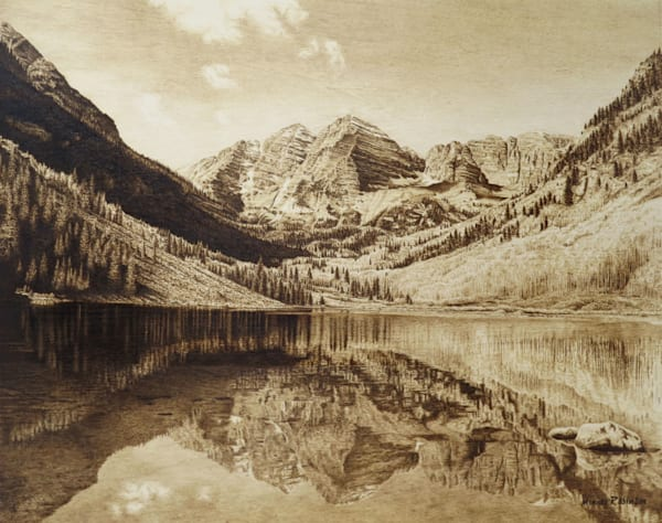 Maroon Bells Original Woodburning