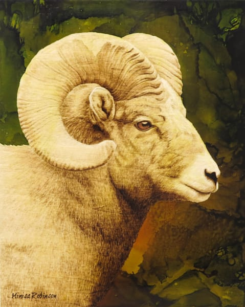 Rocky Mountain Elegance- (Bighorn Original Woodburning)
