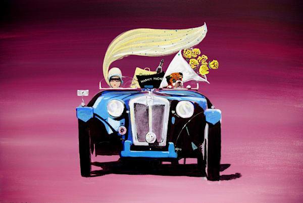 Colourful Vintage Car Art Print