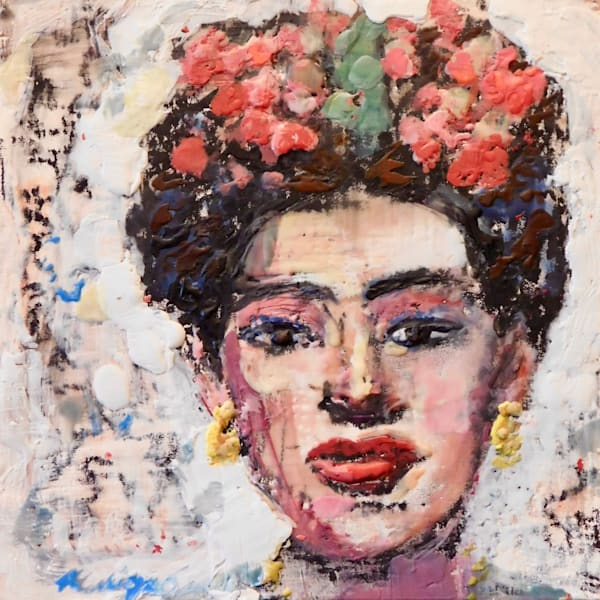 """""""Portrait of Frida Khalo 2"""" by Monique Sarkessian.  encaustic wax and mixed media on wood, 6""""x6"""""""