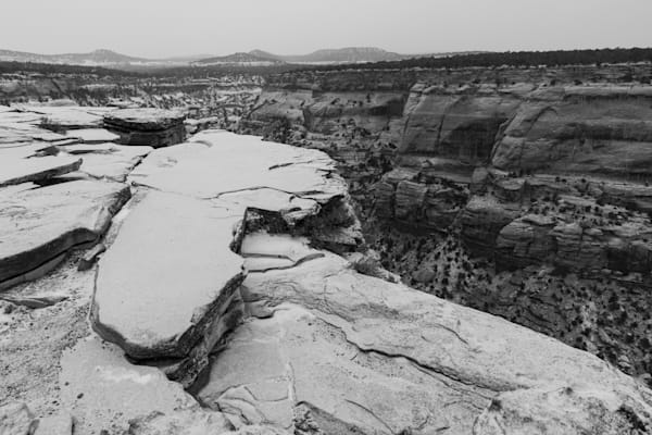 Fresh Snow Lying on Ancient Sandstone
